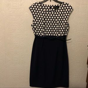 NWT Connected apparel navy & white dress belted 16